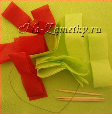 Цветы из салфеток (бумаготворчество, мастер-класс) .