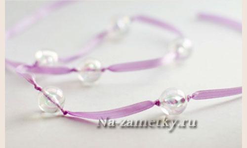 Ожерелье из бусин и атласной ленты «Саюри»