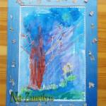 Детский рисунок в самодельной рамочке